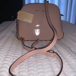 Patent Leather Medium Dome Crossbody in Ballet